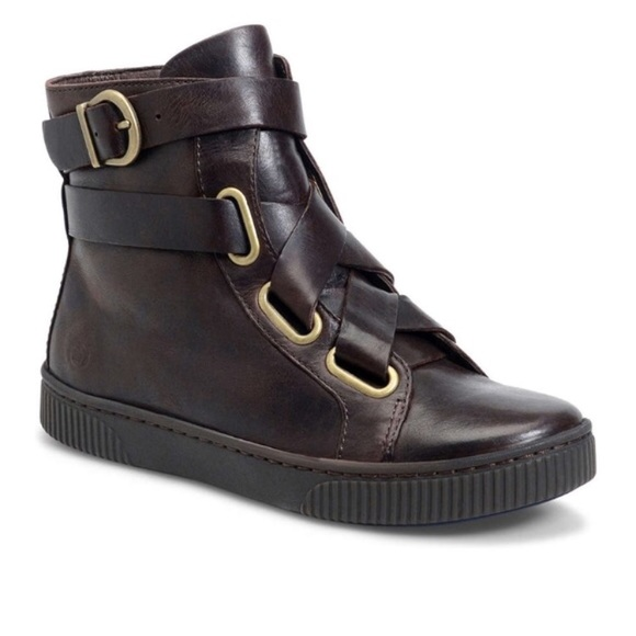 520768c5ab2b Born Shoes - Born Sophia black leather high top sneakers